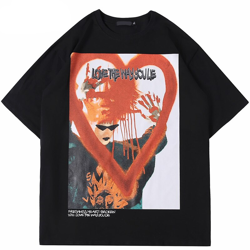 Illusion Letter Bloody Heart Printed Oversize T-Shirt Men's Clothing Mens T-Shirts